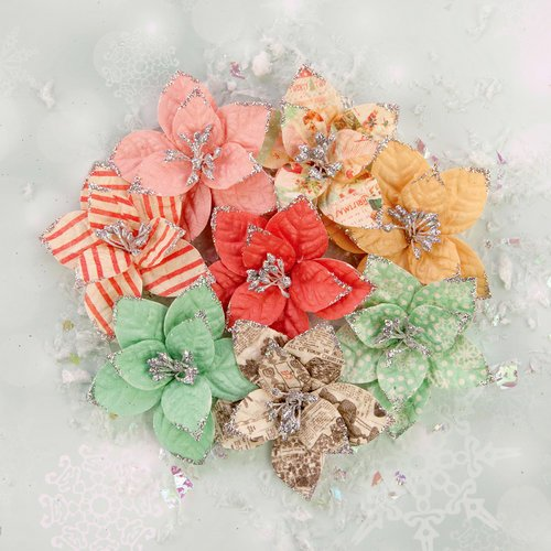 Prima - Sweet Peppermint Collection - Christmas - Flower Embellishments - Holiday Carols