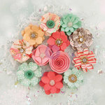 Prima - Sweet Peppermint Collection - Christmas - Flower Embellishments - Holiday Kisses