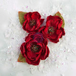 Prima - Sweet Peppermint Collection - Christmas - Flower Embellishments - December 25