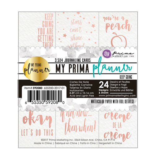 Prima - My Prima Planner Collection - Journaling Cards - Keep Going with Foil Accents