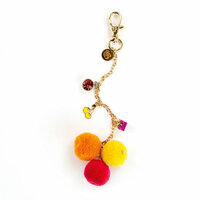Prima - My Prima Planner Collection - Pom Pom Key Chain - Fuchsia Cherry