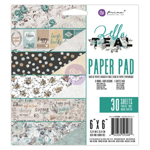 Prima - Zella Teal Collection - 6 x 6 Paper Pad