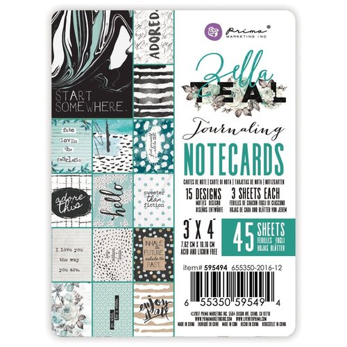 Prima - Zella Teal Collection - 3 x 4 Journaling Cards