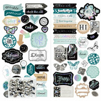 Prima - Zella Teal Collection - Chipboard Stickers with Foil Accents