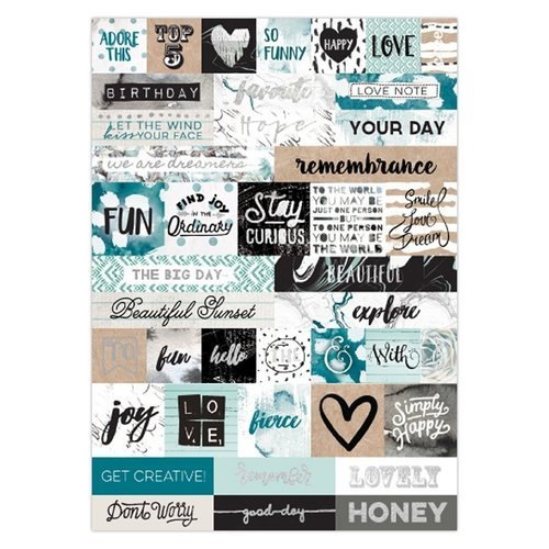 Prima - Zella Teal Collection - Cardstock Stickers - Words with Foil Accents