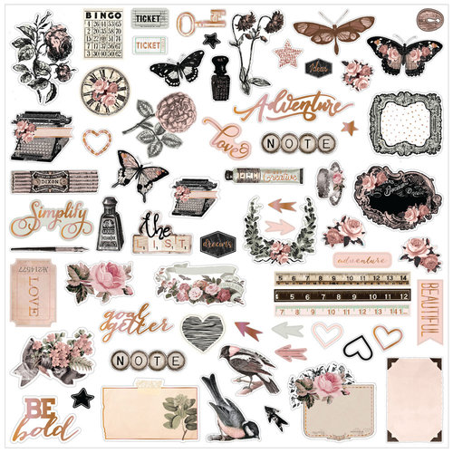 Prima - Amelia Rose Collection - Ephemera with Foil Accents