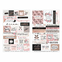 Prima - Amelia Rose Collection - Cardstock Stickers with Foil Accents - Words and Quotes