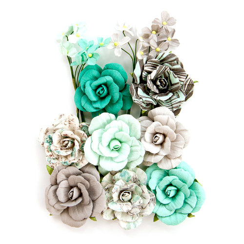 Prima - Zella Teal Collection - Flower Embellishments - Teal Love