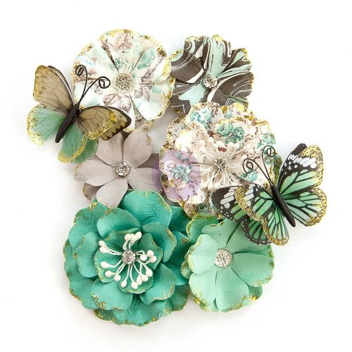 Prima - Zella Teal Collection - Flower Embellishments - Butterfly Kisses
