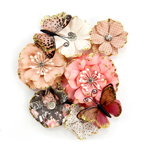 Prima - Amelia Rose Collection - Flower Embellishments - Pen and Ink with Foil Accents