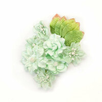 Prima - Santa Baby Collection - Christmas - Flower Embellishments - Frosted Mint