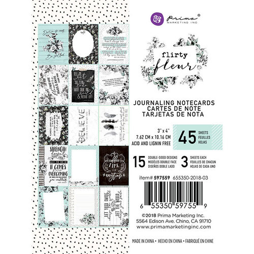 Prima - Flirty Fleur Collection - 3 x 4 Journaling Cards
