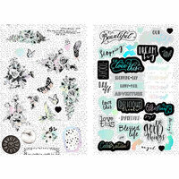 Prima - Flirty Fleur Collection - Chipboard Stickers with Foil Accents