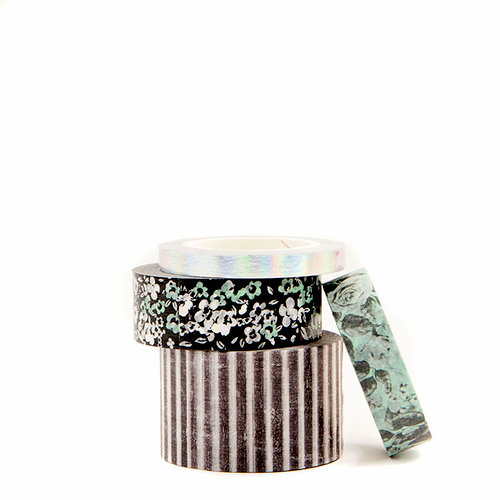 Prima - Flirty Fleur Collection - Decorative Tapes with Foil Accents