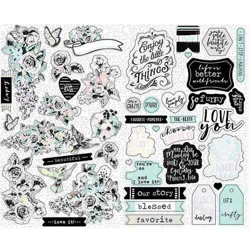 Prima - Flirty Fleur Collection - Cardstock Stickers with Foil Accents
