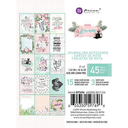 Prima - Havana Collection - 3 x 4 Journaling Cards