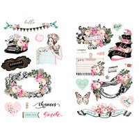 Prima - Havana Collection - Chipboard Stickers with Foil Accents
