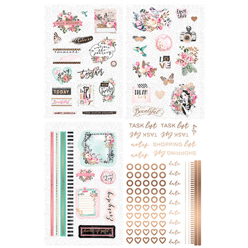 Prima - Havana Collection - Cardstock Stickers with Foil Accents