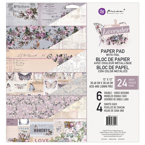 Prima - Lavender Collection - 12 x 12 Paper Pad with Foil Accents