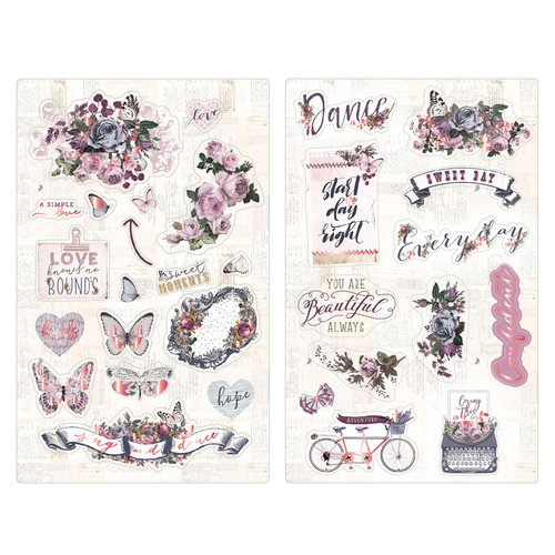 Prima - Lavender Collection - Chipboard Stickers with Foil Accents
