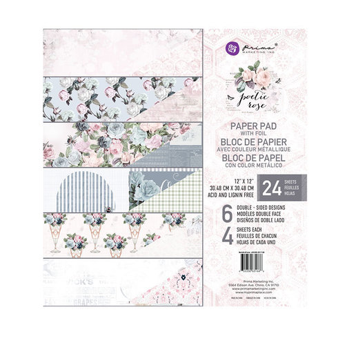 Prima - Poetic Rose Collection - 12 x 12 Paper Pad with Foil Accents
