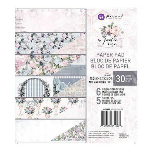 Prima - Poetic Rose Collection - 6 x 6 Paper Pad