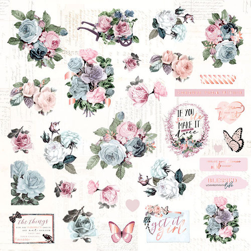 Prima - Poetic Rose Collection - Ephemera 1 with Foil Accents