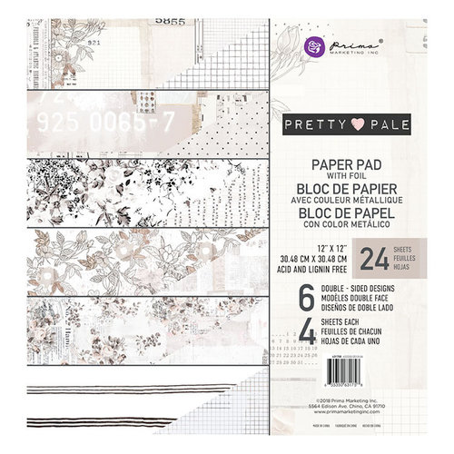 Prima - Pretty Pale Collection - 12 x 12 Paper Pad with Foil Accents