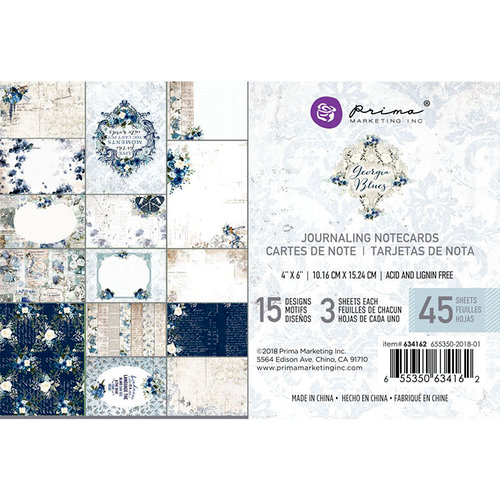 Prima - Georgia Blues Collection - 4 x 6 Journaling Cards