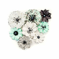 Prima - Flirty Fleur Collection - Flower Embellishments - Grey and Mint