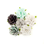 Prima - Flirty Fleur Collection - Flower Embellishments - Dots and Stripes