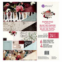 Prima - Midnight Garden Collection - 12 x 12 Paper Pad with Foil Accents
