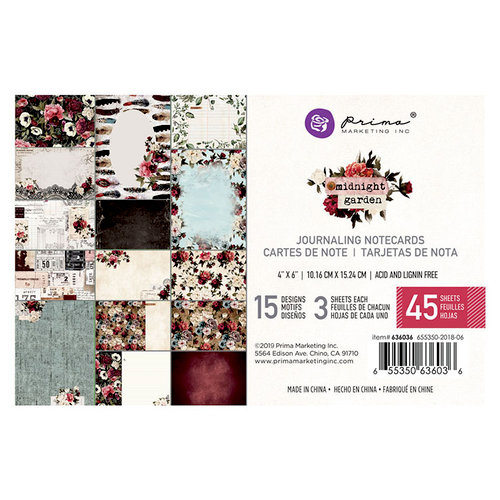 Prima - Midnight Garden Collection - 4 x 6 Journaling Cards