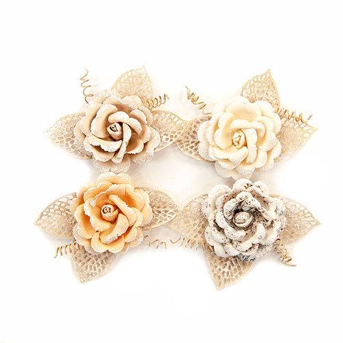 Prima - Pretty Pale Collection - Flower Embellishments - Sand Dunes