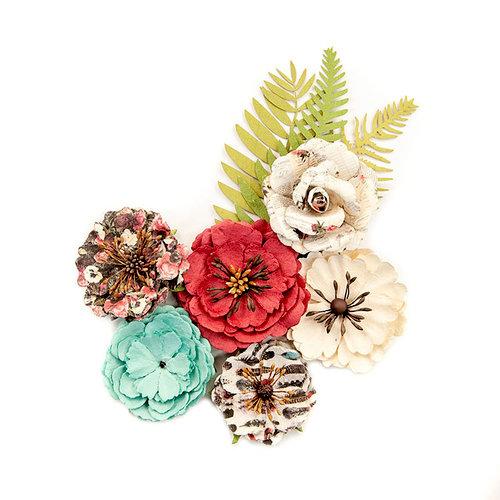 Prima - Midnight Garden Collection - Flower Embellishments - Light and Dark