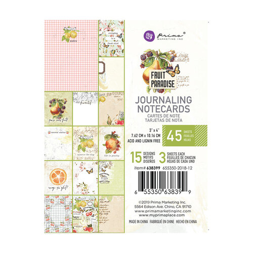 Prima - Fruit Paradise Collection - 3 x 4 Journaling Cards