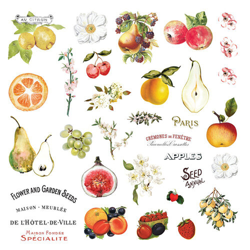 Prima - Fruit Paradise Collection - Ephemera with Stickers and Foil Accents
