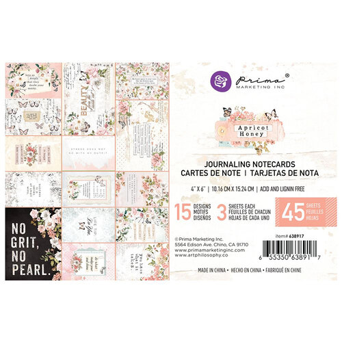 Prima - Apricot Honey Collection - 4 x 6 Journaling Cards