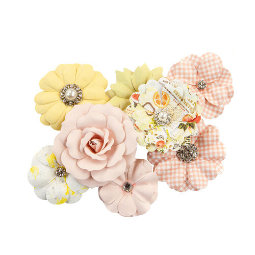 Prima - Fruit Paradise Collection - Flower Embellishments - Juicy Grapefruit