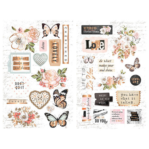 Prima - Apricot Honey Collection - Embellishments - Chipboard with Foil Accents
