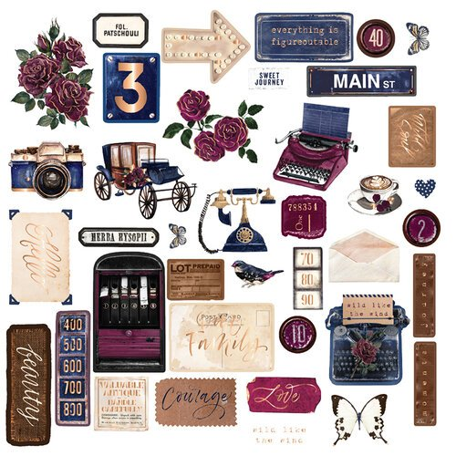 Prima Darcelle Collection Embellishments Ephemera with Foil Accents 642020
