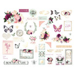 Prima - Pretty Mosaic Collection - Chipboard Stickers with Foil Accents