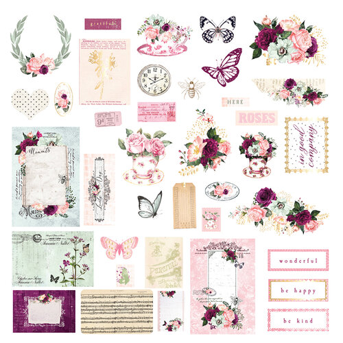 Prima - Pretty Mosaic Collection - Ephemera with Foil Accents
