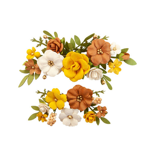 Prima - Autumn Sunset Collection - Flower Embellishments - Falling Leaves