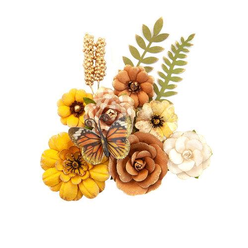 Prima - Autumn Sunset Collection - Flower Embellishments - Pumpkin Pie
