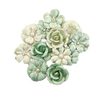Prima - Apricot Honey Collection - Flower Embellishments - Minty Basil