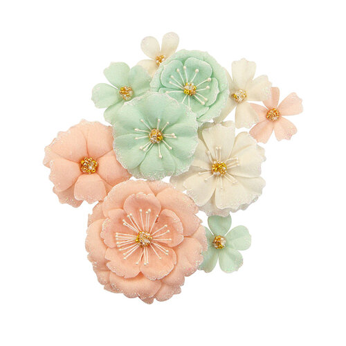 Prima - Apricot Honey Collection - Flower Embellishments - Blush & Mint