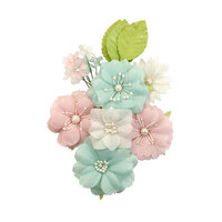 Prima - Apricot Honey Collection - Flower Embellishments - Tangerine Fresh