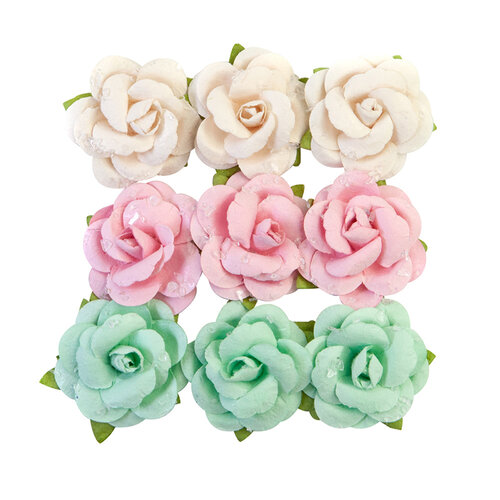 Prima - Dulce Collection - Flower Embellishments - Fluffy Candy with Glitter Accents