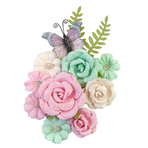Prima - Dulce Collection - Flower Embellishments - Sweet Confection with Glitter Accents